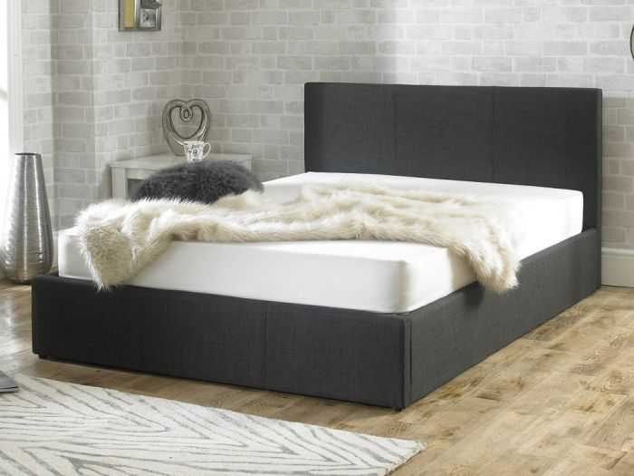 Stirling Fabric Ottoman Charcoal Double Bed