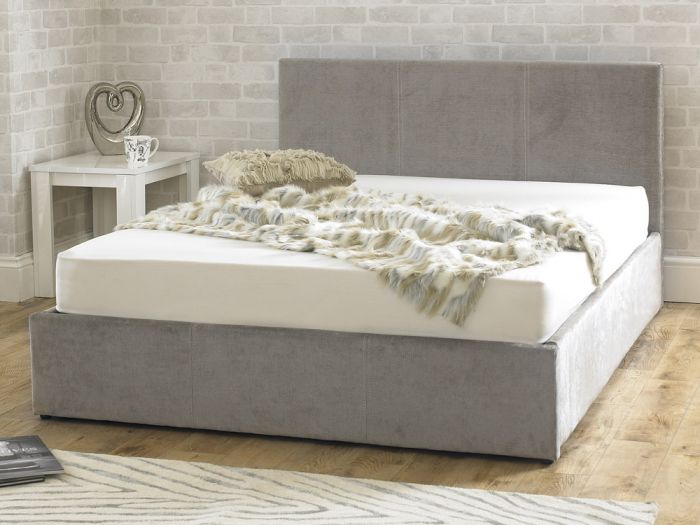 Stirling Fabric Ottoman Natural Stone Double Bed