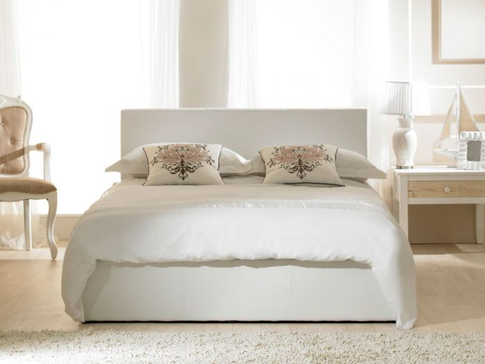 Madrid Ottoman White Small Double Bed