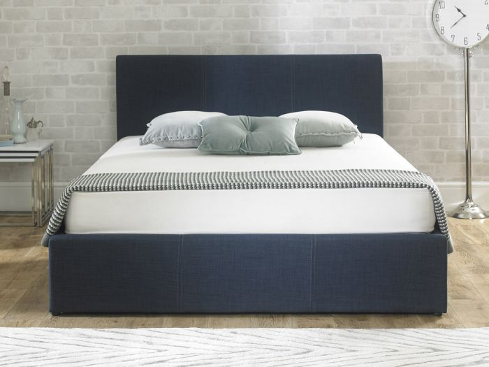 Stirling Fabric Ottoman Blue Double Bed
