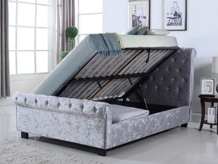 Whitford Side Ottoman in Silver - Open
