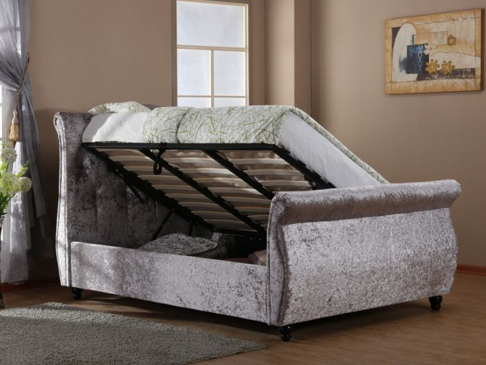 Harmony Mayfair Ottoman Double Bed - Silver Grey Open