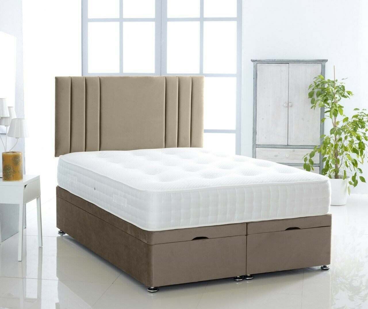 Picture of: Storage End Lift Ottoman Divan Bed Set Suede Single Bed