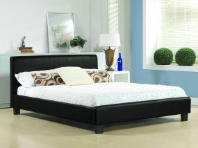 Hamburg Black Slate Fabric Double Bed