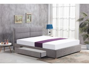 Cambric grey drawer double bed