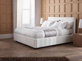 Serene Lucca White Double Ottoman Bed