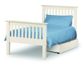 Barcelona White Single Bed - High Foot End