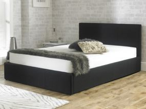 Stirling Fabric Ottoman Black Super King Size Bed